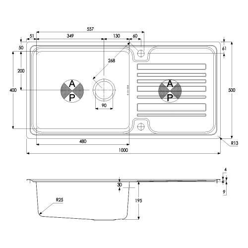 Apex 1.0 Bowl Stainless Steel Kitchen Sink
