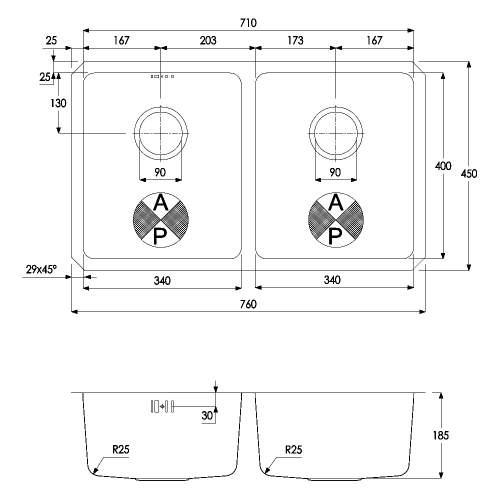 Matrix R25 2.0 Bowl Undermount Kitchen Sink