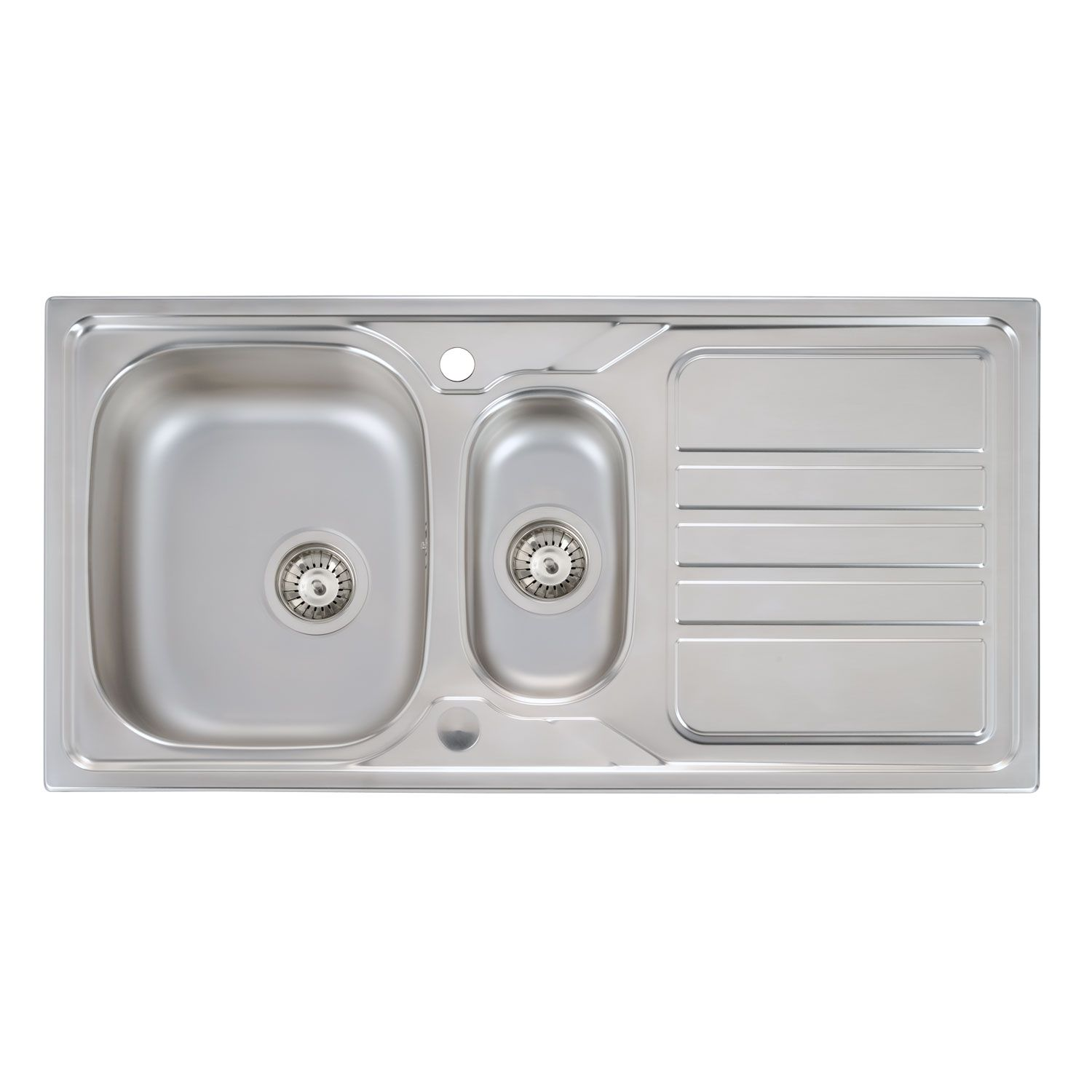 mikro 1 5 bowl kitchen sink     abode mikro 1 5 bowl stainless steel sink   sinks taps com  rh   sinks taps com