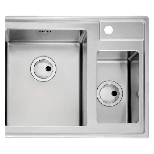 Theorem 1.5 Bowl Offset Drainer Stainless Steel Kitchen Sink