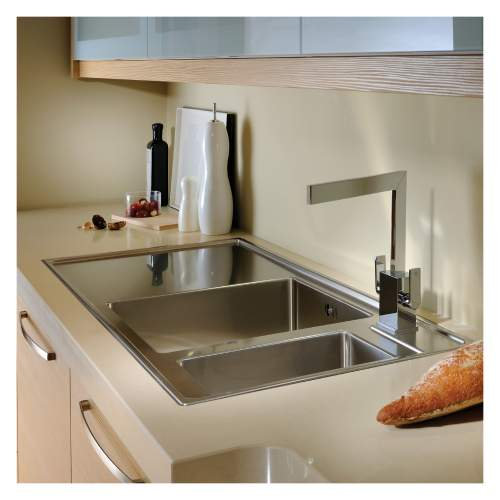 Theorem 1.5 Bowl Offset Drainer Stainless Steel Kitchen Sink