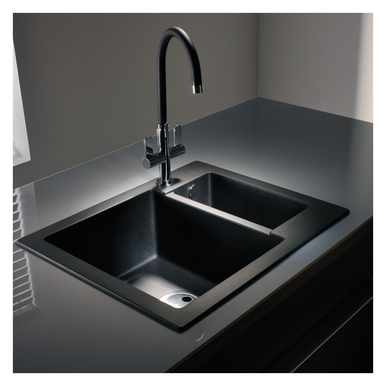 Granite Sink Bowl : Abode Zero 1.5 Bowl Granite Sink Without Drainer - Sinks-Taps.com