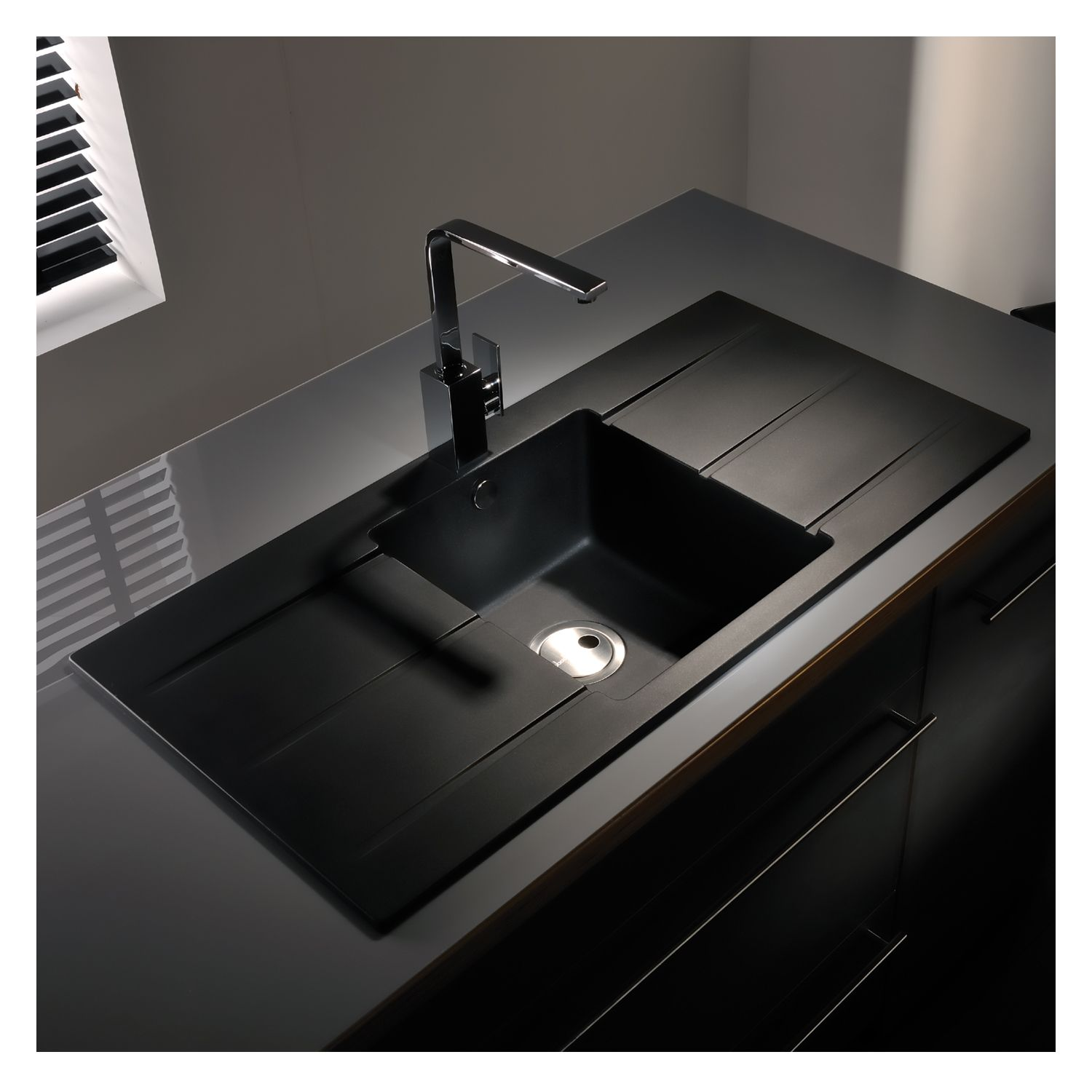 kitchen sinks double drainer abode zero 1 0 bowl drainer granite sink sinks 6069