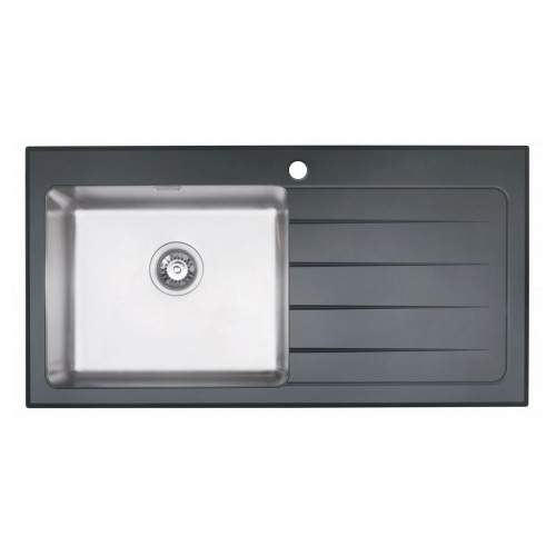KubeVetro 1.0 Bowl Black Glass Kitchen Sink
