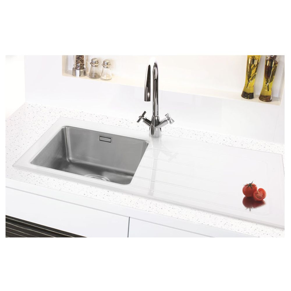 Bluci KubeVetro 1.0 Bowl White Glass Sink - Sinks-Taps.com