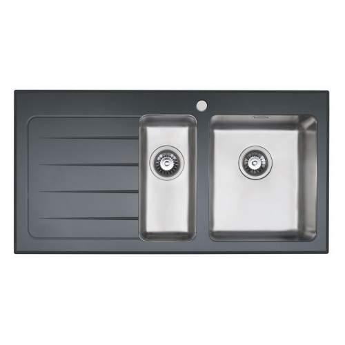 KubeVetro Black Glass 1.5 Bowl Kitchen Sink