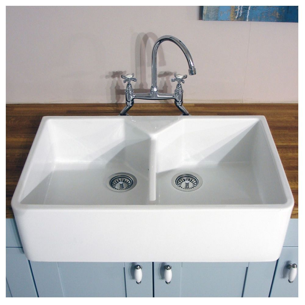 Bluci Vecchio-G10 Double Bowl Ceramic Sink - Sinks-Taps.com