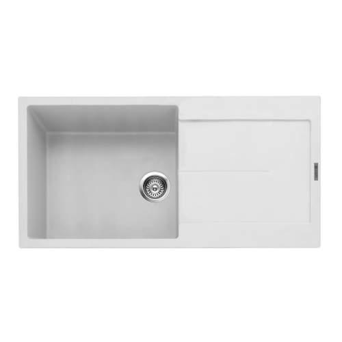 Canis 100 Inset Kitchen Sink With Drainer - Chalk White