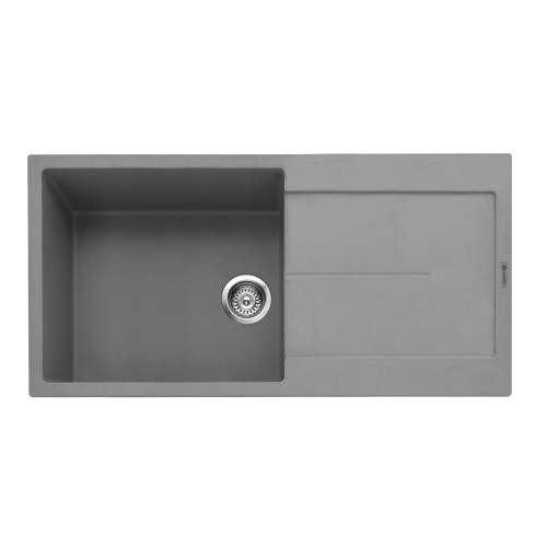 Canis 100 Inset Kitchen Sink With Drainer - Pebble Grey