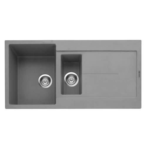 Canis 150 Inset 1.5 Bowl Kitchen Sink With Drainer - Pebble Grey