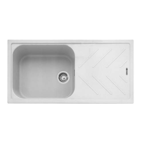 Veis 100 Inset Kitchen Sink With Drainer - Chalk White