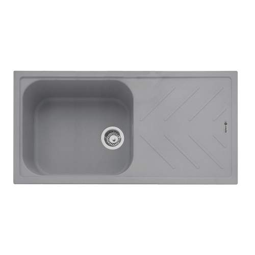 Veis 100 Inset Kitchen Sink With Drainer - Pebble Grey