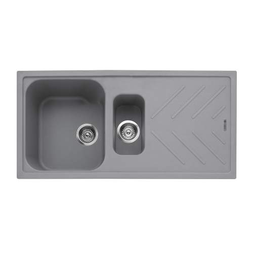 Veis 150 Inset 1.5 Bowl Kitchen Sink With Drainer - Pebble Grey