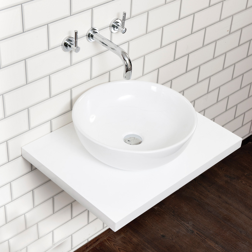 Aquabro Floating White Wood Shelf - Sinks-Taps.com