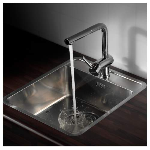 OHIO 40x40 Single Bowl Kitchen Sink With Tap Ledge