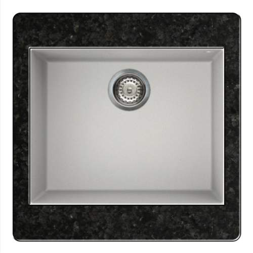 Quadra 105 Undermount 1.0 Bowl Granite Kitchen Sink - White