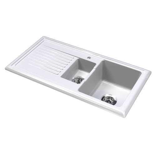 LUX RL301CW Ceramic 1.5 Bowl Kitchen Sink