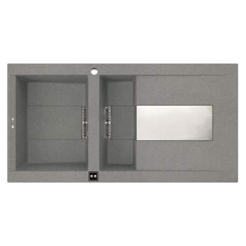 Sirex 475 Electro 1.5 Bowl Inset Granite Kitchen Sink - Grey