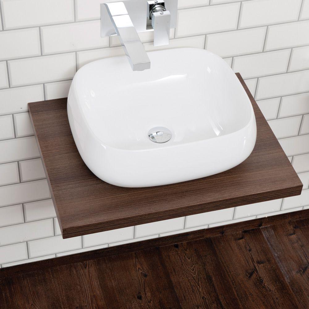 Aquabro Floating Dark Wood Shelf Sinks Taps Com