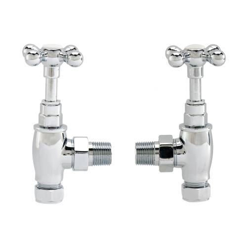 Crosshead Radiator Valve Set with Cover Plates and Chrome Tubes