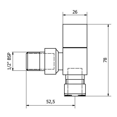 Angle Square Head Radiator Valve Set