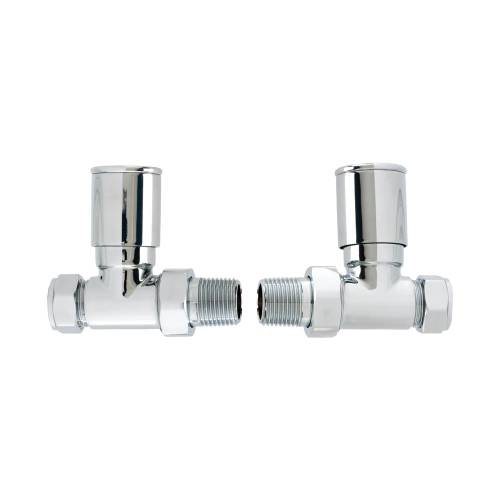 Straight Round Head Radiator Valve Set