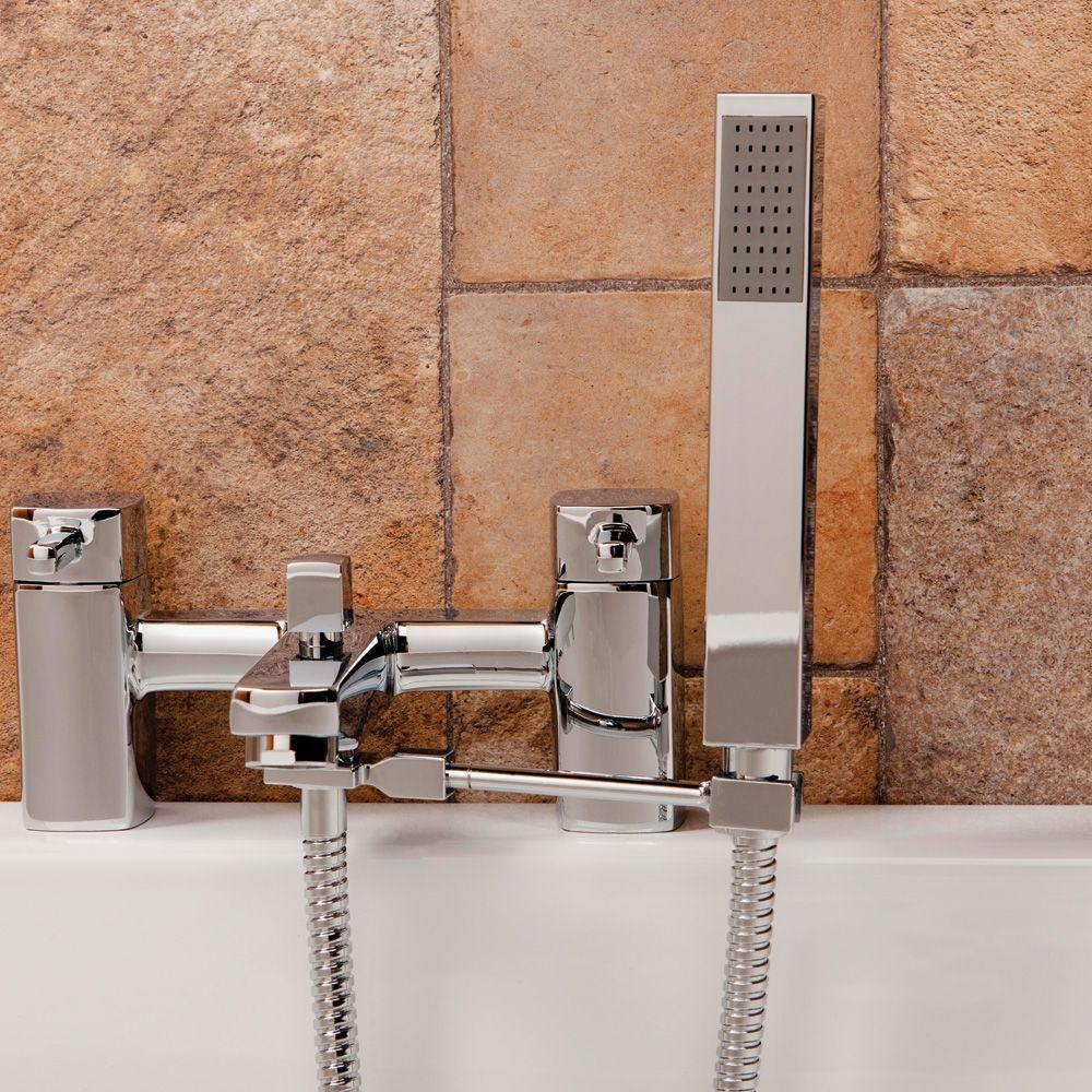 Aquabro Square Bath Shower Mixer Handset Arm - Sinks-Taps.com