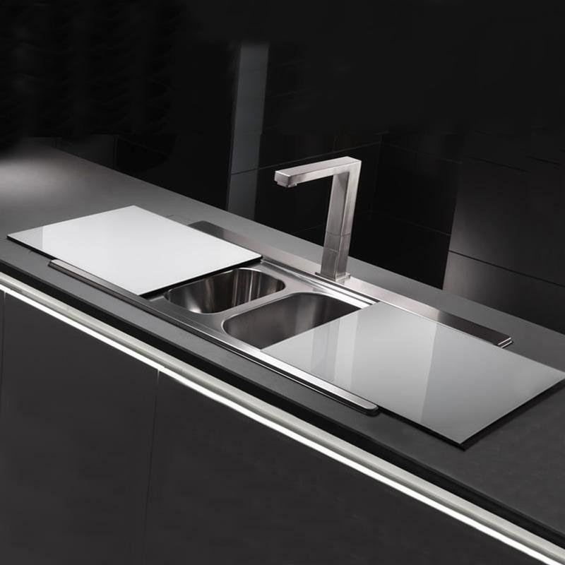 Abode Tempered White Glass Sliding Sink Cover Sinks Taps Com