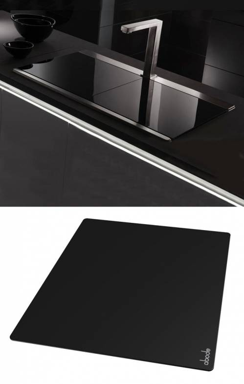 Tempered Black Glass Sliding Sink Cover