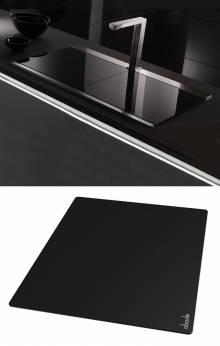 Tempered Black Glass Sliding Sink Cover
