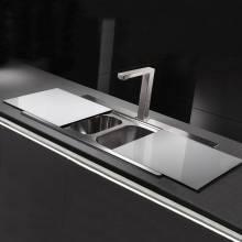 Tempered White Glass Sliding Sink Cover
