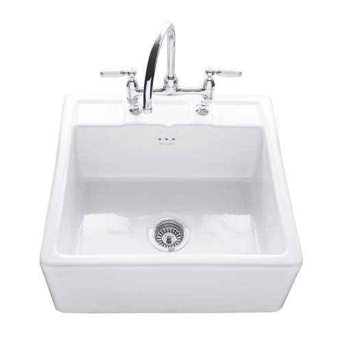 BUTLER 600 Ceramic Sit-On Kitchen Sink with Tap Ledge