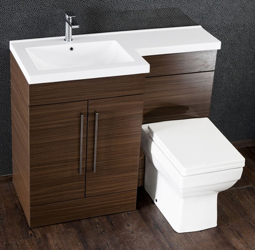 Aquabro L-Shaped Bathroom Furniture - Walnut - Sinks-Taps.com