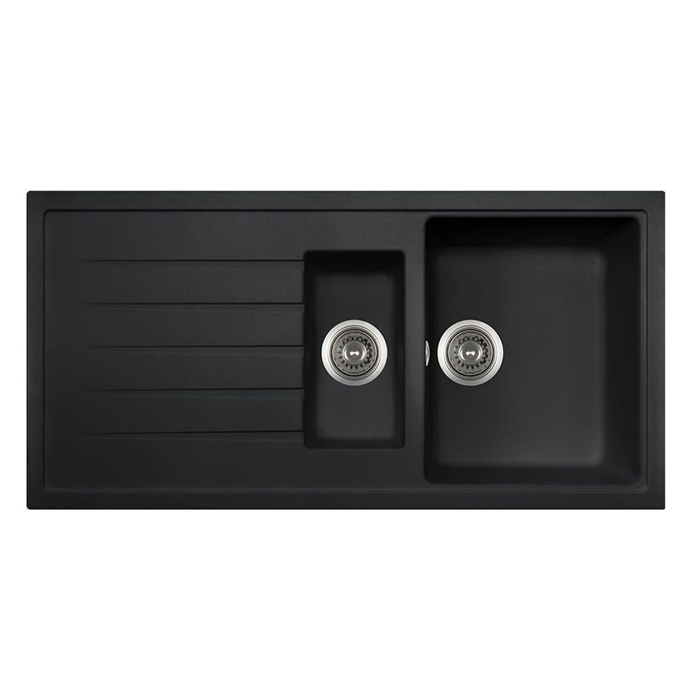 Piazza 1 5 Bowl Granite Kitchen Sink In Black