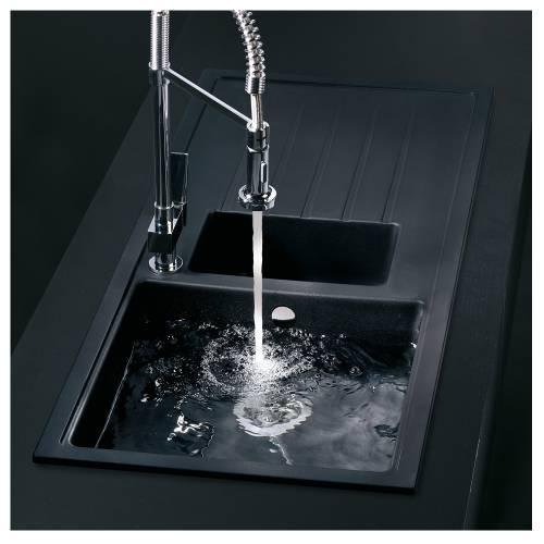 PIAZZA 1.5 Bowl Granite Kitchen Sink in Black Granite