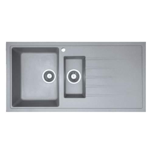 PIAZZA 1.5 Bowl Granite Kitchen Sink in Grey