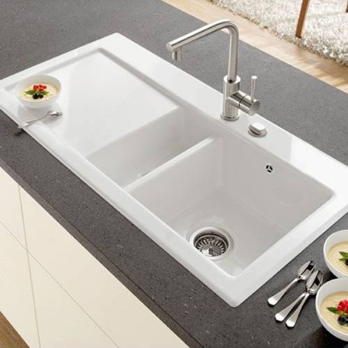 SUBWAY 60 1.5 Bowl Ceramic Kitchen Sink - Ceramic Line