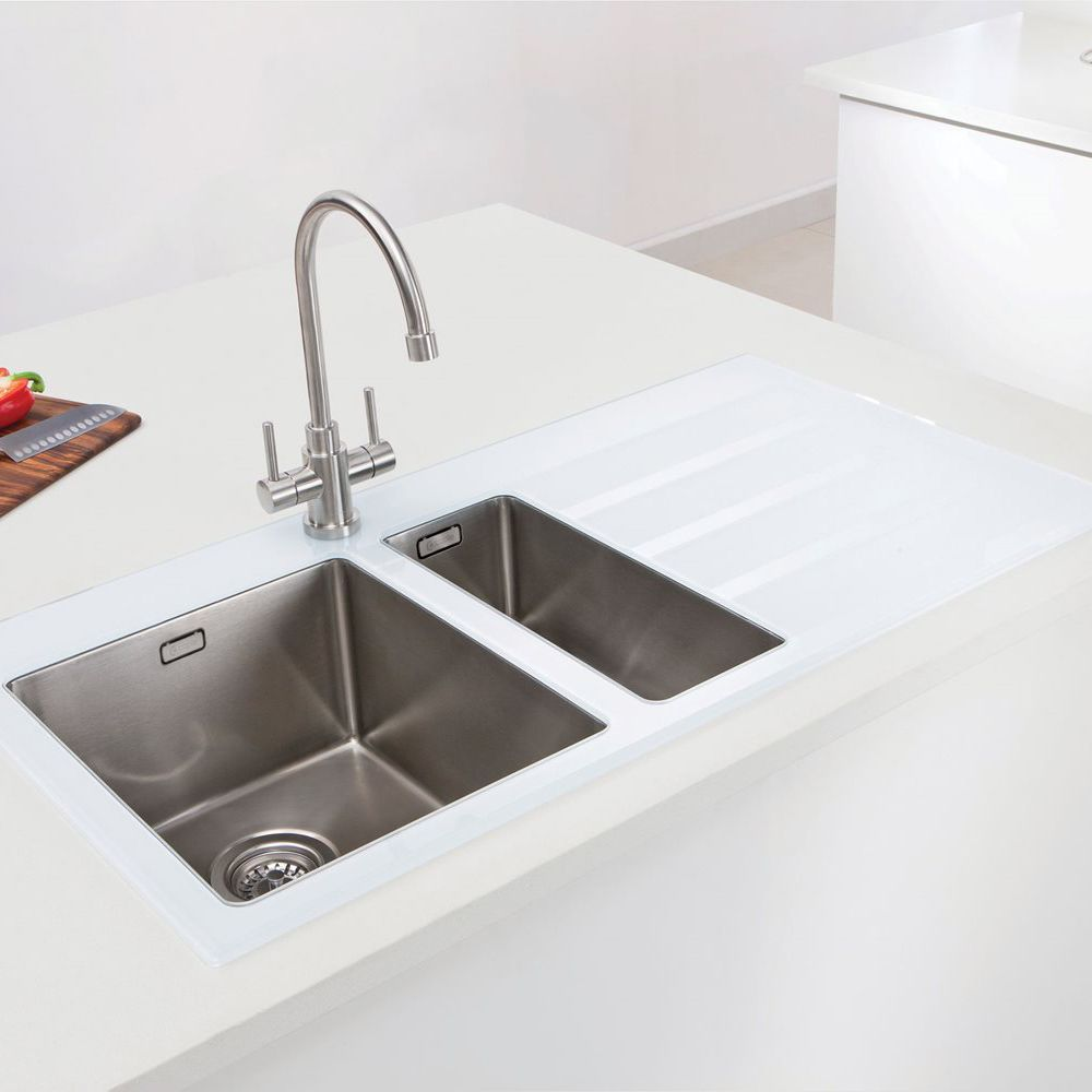 glass sinks for kitchens caple vitrea 150 glass sink with steel bowls sinks taps 3812