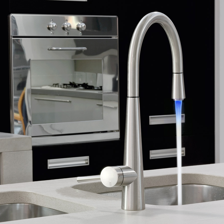 Gessi Just 20579 Monobloc Pull Out Kitchen Tap With Led