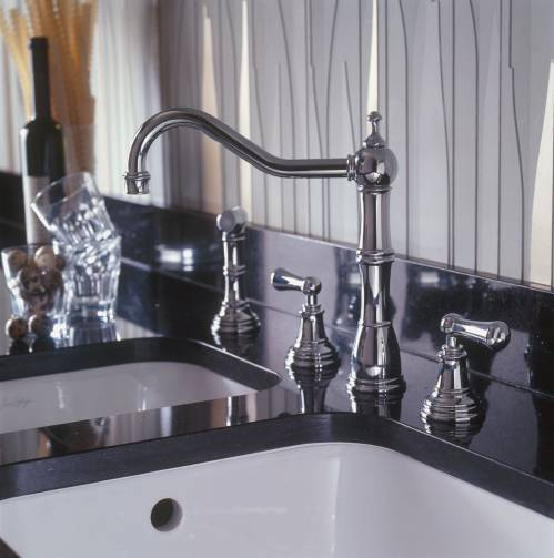 4776 ALSACE Three Hole Mixer Kitchen Tap with Lever Handles and Rinse