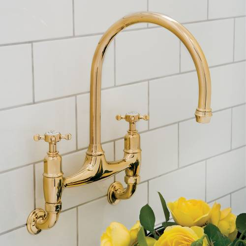 4182 IONIAN Wall Mounted Mixer Kitchen Tap with Crosshead Handles