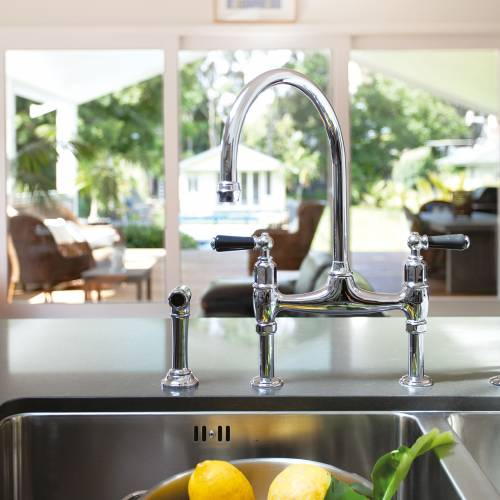 4173 IONIAN Deck Mounted Mixer Kitchen Tap with Lever Handles and Rinse