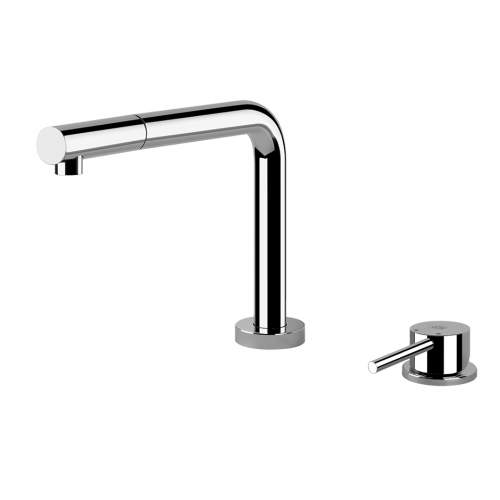 LOGIC 2 Hole Kitchen Mixer Tap, 3 Positions with Pull-Out Rinse