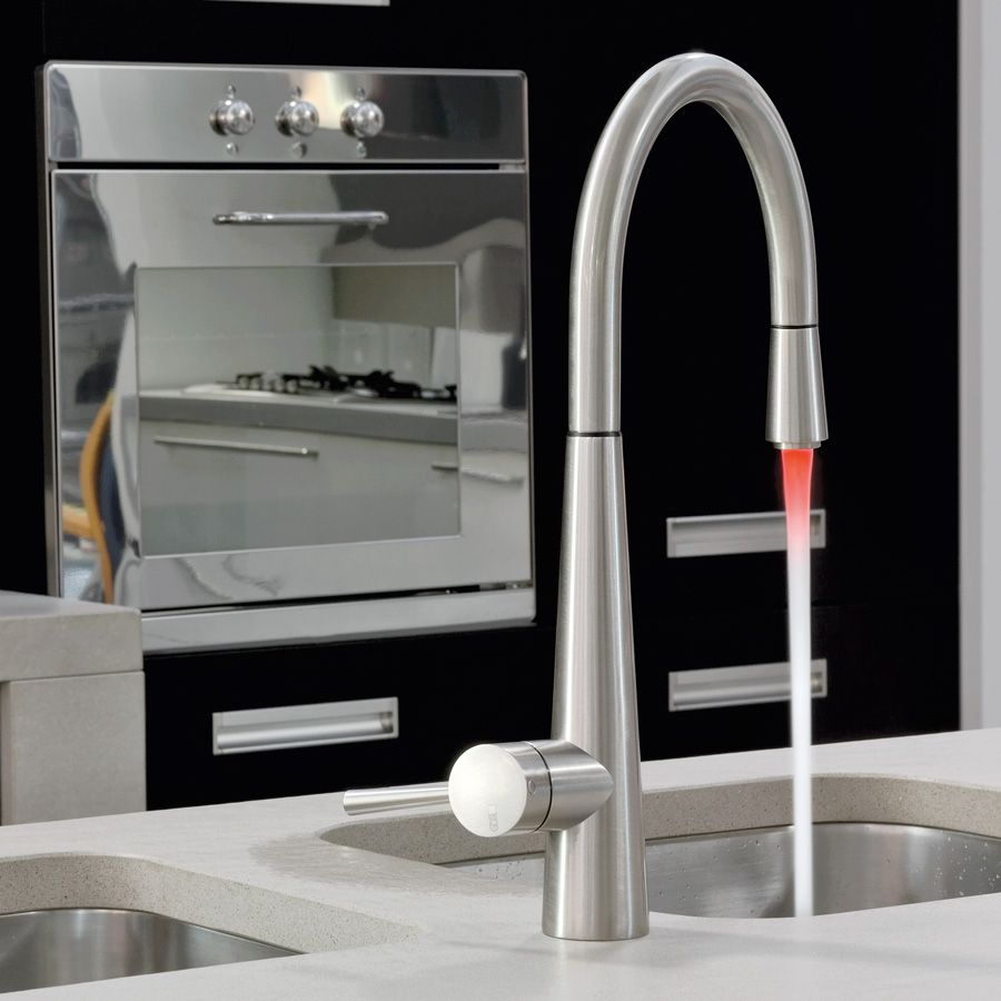Gessi JUST 20579 Monobloc Pull-Out Kitchen Tap With LED