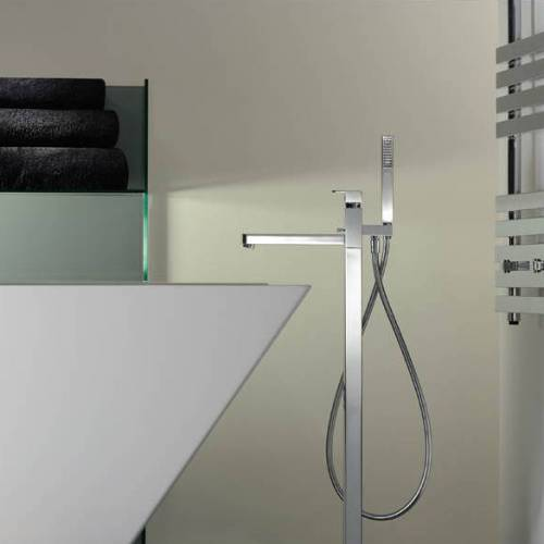 FERVOUR Floor Standing Bath Filler Tap with Shower Handset