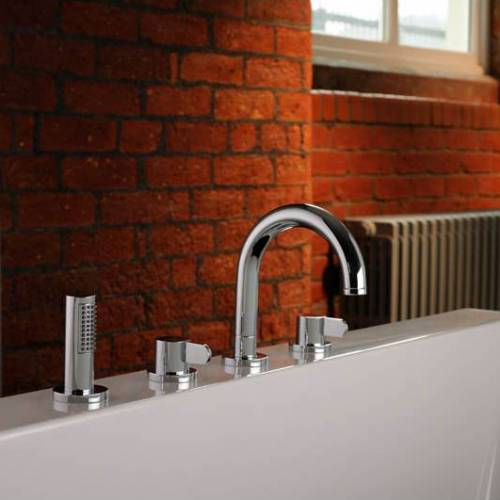 BLISS Thermostatic Deck Mounted 4 Hole Bath Shower Mixer Tap