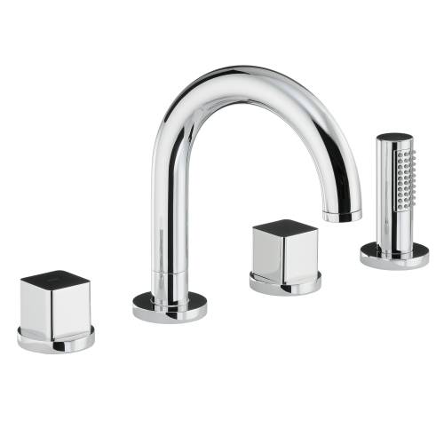 RAPPORT Thermostatic Deck Mounted 4 Hole Bath Shower Mixer Tap