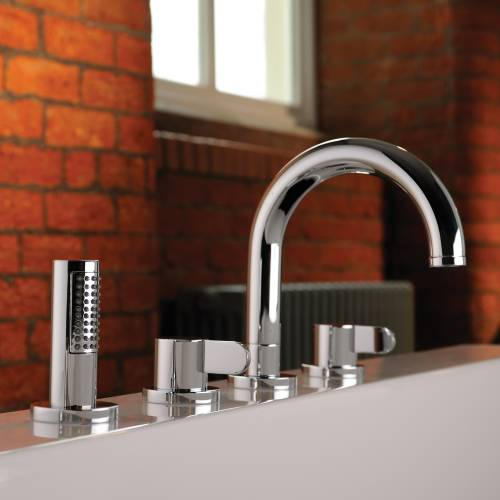 HARMONIE Thermostatic Deck Mounted 4 Hole Bath Shower Mixer Tap