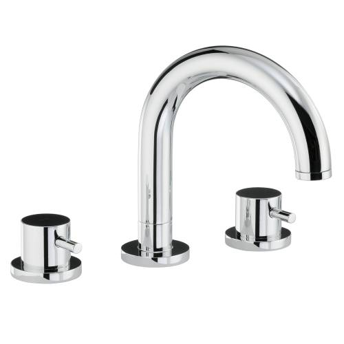 HARMONIE Thermostatic Deck Mounted 3 Hole Bath Mixer Tap & Wall Mounted Shower