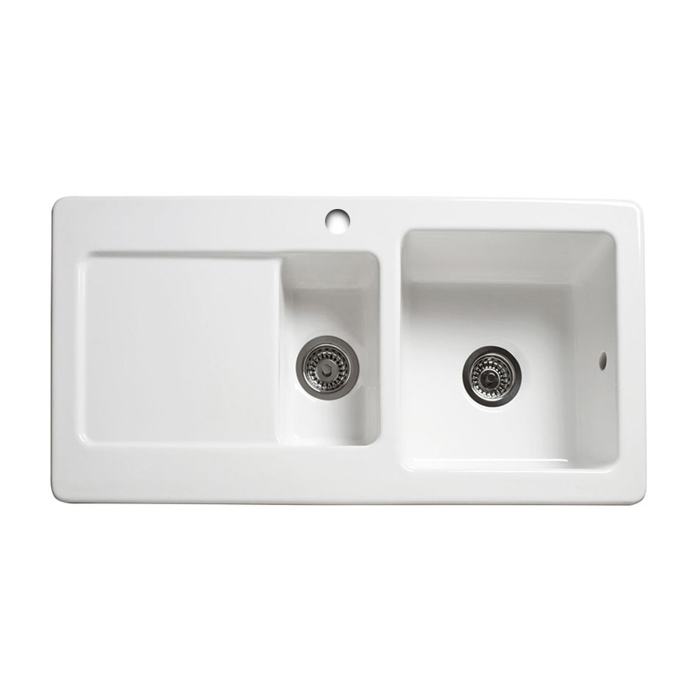 ceramic kitchen sinks 1 5 bowl reginox rl501cw 1 5 bowl ceramic sink sinks taps 8091